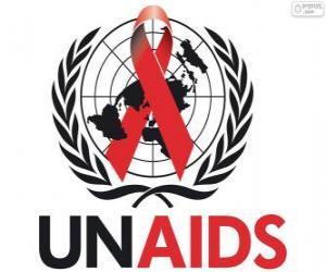 Puzzle Logo de l'ONUSIDA. Programme commun des Nations Unies sur le VIH / SIDA
