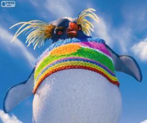 Puzzle Lovelace, une étrange pingouin avec un pull-over de laine colorée, Happy Feet 2