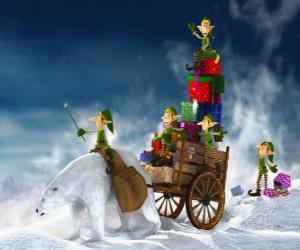 Puzzle Lutin aider le Père Noël de livrer des cadeaux de Noël