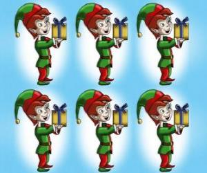 Puzzle Lutin de Noël en chargeant avec une caisse d'un cadeau