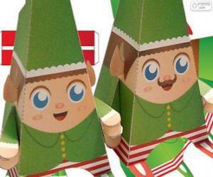Puzzle Lutins de Noël de papier