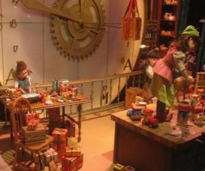 Puzzle Lutins de  Noël à la fabrication de jouets depour les cadeaux