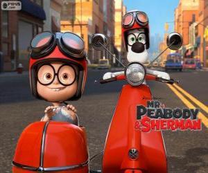 Puzzle M. Peabody et Sherman sur le motocycle avec side-car