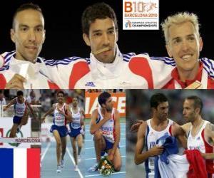 Puzzle Mahiedine Mekhissi-champion Benabbes 3000 m steeple, Bouabdellah Tahri et Jose Luis Blanco (2e et 3e) de l'athlétisme européen de Barcelone 2010