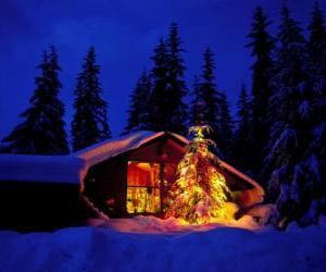 Puzzle Maison avec un grand arbre de Noël décoré dans le jardin