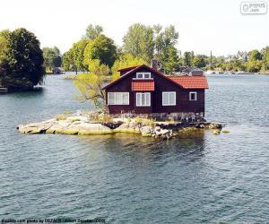 Puzzle Maison sur une petite île
