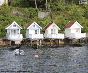 Puzzle Maisons sur le lac, Norvège