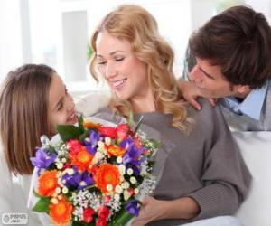 Puzzle Maman recevant un bouquet de fleurs