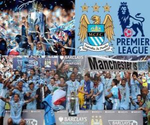 Puzzle Manchester City, champion Premier League 2011-2012, Ligue de Football d'Angleterre