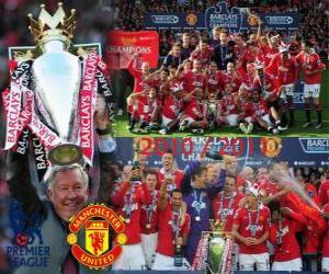 Puzzle Manchester United, champion de la ligue de football anglais. Premier League 2010-2011
