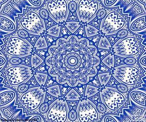 Puzzle Mandala fleur bleue