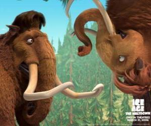 Puzzle Manny et Ellie, deux mammouths rendus