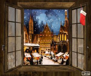 Puzzle Marché de Noël, fenêtre