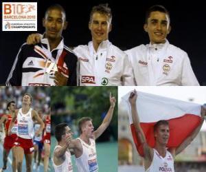 Puzzle Marcin Lewadowski 800 m champion, Michael Rimmer et Adam Kszczot (2e et 3e) de l'athlétisme européen de Barcelone 2010