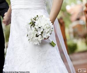 Puzzle Mariée avec bouquet