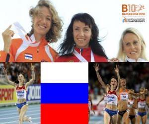 Puzzle Maria Savinov champion à 800 m, Yvonne Hak et Jennifer Meadows (2e et 3e) de l'athlétisme européen de Barcelone 2010