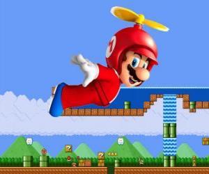 Puzzle Mario battant avec la coque avec une hélice