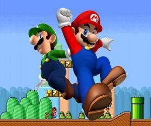 Puzzle Mario et son frère Luigi, les plus célèbres plombiers