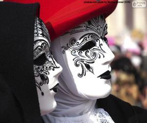 Puzzle Masques vénitiens blancs classiques