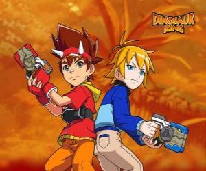 Puzzle Max et Rex, deux des protagonistes de Dinosaur King, Dinosaure King