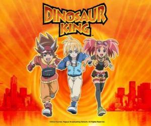 Puzzle Max, Rex et Zoé, les experts sur les dinosaures et les protagonistes de la série Dinosaur King