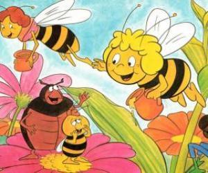 Puzzle Maya a volé avec l'enseignant Cassandra porter un pot de miel chacun, tout en Wili saluer leurs amis et Kurt