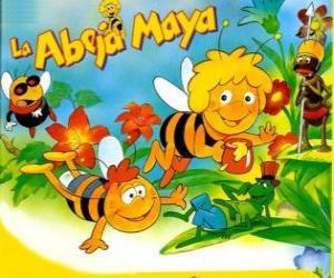 Puzzle Maya l'abeille et de son ami Willi sous le regard de Flip et autres caractères
