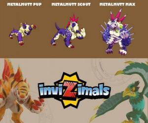 Puzzle Metalmutt en trois phases Metalmutt Pup, Metalmutt Scott et Metalmutt Max, Invizimals