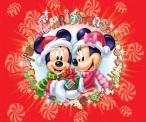 Puzzle Mickey et Minnie Mouse abris avec chapeaux de Santa Claus