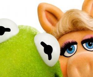 Puzzle Miss Piggy et Kermit la grenouille