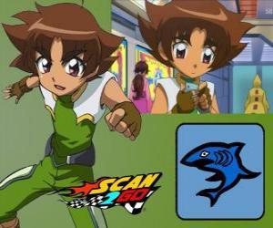 Puzzle Mitsuki Kaibara des Scan2Go, la puissance du requin lui donne une grande froideur et la cruauté pendant la compétition