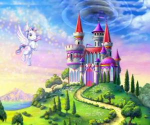 Puzzle Mon petit poney volant à proximité d'un château
