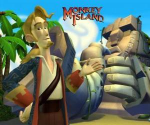 Puzzle Monkey Island, un jeu vidéo d'aventure. Guybrush Threepwood, un acteur majeur