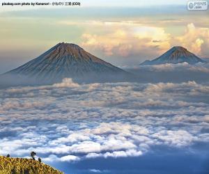 Puzzle Montagnes Sundoro et Sumbing, Indonésie