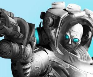 Puzzle Mr. Freeze avec son arme de froid. Le scientifique maléfique est un ennemi de Batman