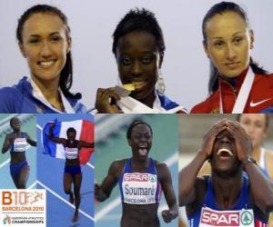 Puzzle Myriam Soumaré champion de 200 m, et Alexandra Bryzhina Yelizabeta Fedora (2e et 3e) de l'athlétisme européen de Barcelone 2010