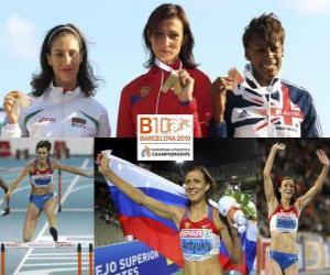 Puzzle Natalia Antiuj 400m haies champion, Vania Stambolova et Perri Shakes-Drayton (2e et 3e) de l'athlétisme européen de Barcelone 2010