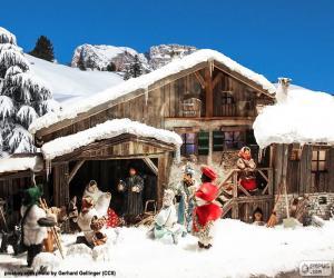 Puzzle Nativité avec de la neige