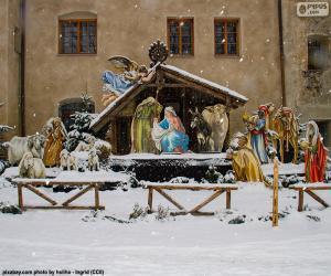 Puzzle Nativité de neige