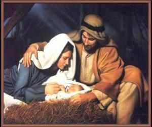 Puzzle Nativité - Jésus enfant avec Marie sa mère et son père Joseph