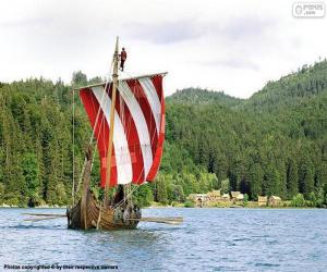 Puzzle Navire viking rameurs