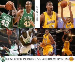 Puzzle NBA final 2009-10, Pivot, Perkins Kendrick (Celtics) vs Bynum Andrew (Lakers)
