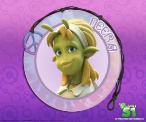 Puzzle Neera est la fille typique, à puce, la peau verte avec quelques belles antennes attrayant sur son front