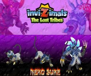 Puzzle Neko Suke, dernière évolution. Invizimals The Lost Tribes. Cette invizimal furtif est un maître de la tromperie