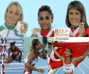 Puzzle Nevin Yanit champion du 100 m haies, Derval O'Rourke et Carolin Nytra (2e et 3e) de l'athlétisme européen de Barcelone 2010