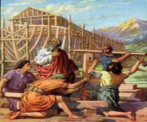 Puzzle Noé a construit son arche pour sauver de le déluge a les élus