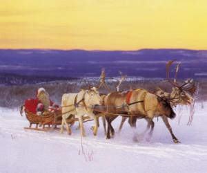 Puzzle Noël en traîneau tiré par des rennes et chargés de cadeaux et le Père Noël
