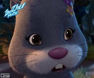 Puzzle NumNums, le hamster avec une coiffe de fleurs à la tête