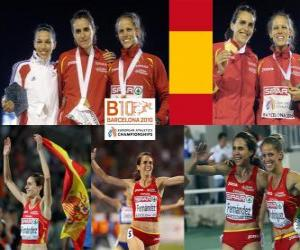 Puzzle Nuria Fernandez champion à 1500 m, Hind Dehiba et Natalia Rodriguez (2e et 3e) de l'athlétisme européen de Barcelone 2010