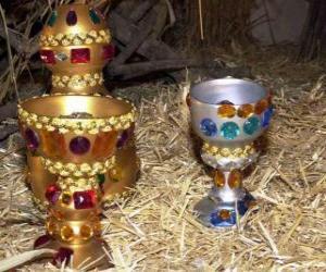 Puzzle Offrandes des Rois Mages, l'or, l'encens et la myrrhe à l'Enfant Jésus